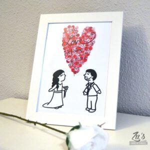 Reserva y diseño previo Lámina personalizada para parejas