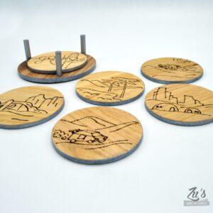 Pack de 6 posavasos de madera personalizados
